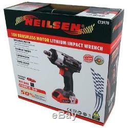 18v Li-ion Cordless Impact Gun Wrench 350Nm 2 BatteriesOPENED(Neilsen CT3970)