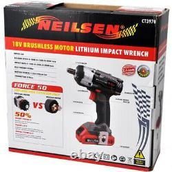 18v Li-ion Cordless Impact Gun Wrench 350Nm 2 Batteries (Genuine Neilsen CT3970)