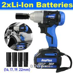 1/2 Drive Cordless Impact Wrench Ratchet Rattle Nut Gun with 2 Li-ion Batteries