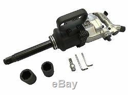 1'' Air Impact Wrench Gun Long Shank Heavy Duty Commericial Truck Mechanics + Ca
