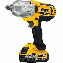 20v Impact Wrench Kit 1/2 Inch Cordless Battery Powered Operated Gun Electric A