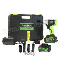 21V Cordless Impact Wrench 1/2 Driver Ratchet Rattle Nut Gun Li-ion 2 Batteries