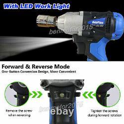 21V Cordless Impact Wrench Driver 420Nm Electric Rattle Nut Gun 1/2 Li-Ion LED
