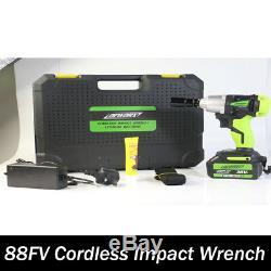 21V Cordless Impact Wrench Gun 1/2 6000mAh Li-Ion Battery 340Nm Case WithLight