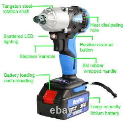 21V Electric Cordless Impact Wrench Gun Driver Tool 1/2 Ratchet Drive / Battery