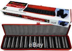 24v Li-Ion Cordless Impact Wrench Gun 1/2 Drive & 2 Lithium Batteries & Sockets