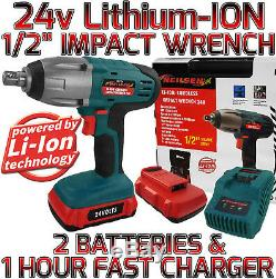 24v Li-Ion Cordless Impact Wrench Gun 1/2 Drive With 2 Twin Lithium Batteries