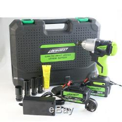 2 Batteries Cordless Impact Wrench Driver 460Nm Electric Rattle Nut Gun 1/2 New