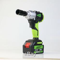 2 Battery 460Nm 1/2 Impact Driver Electric Cordless Wrench Gun Garage Tool Set