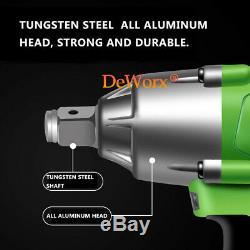 2 Battery High Torque 460Nm 1/2Drive Cordless Impact Wrench Gun Garage Tool Set