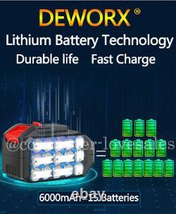 2x Battery Cordless Impact Wrench 6.0Ah Li-ion Ratchet Rattle Nut Gun 1/2 Drive