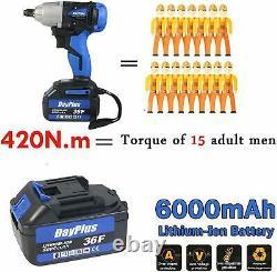 420Nm 21V Electric Cordless Impact Ratchet Wrench Gun Driver Tool 6.0AH Li-ion