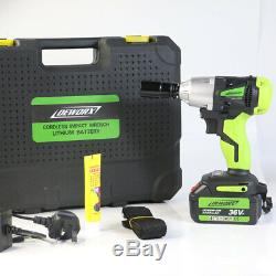 460Nm Cordless 1/2 Impact Wrench Nut Gun Free Spare Battery Powerful Repair Set