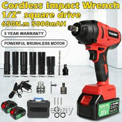 650Nm 1/2 Cordless Brushless Impact Wrench Gun Driver 18V With 2 Battery, Charger