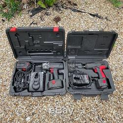A Pair Of Snap On Cordless Impact Wrench Guns, 18v & 14.4v. With Cases, Chargers