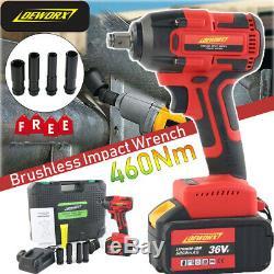 Brushless Impact 460Nm Wrench Car Driver Vehicle Wheel Nut Gun 6000mAh Li-ion