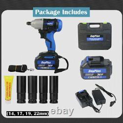 Brushless Motor Cordless Impact Wrench Gun 1/2 Socket 2x 6.0Ah Li-Ion Batteries