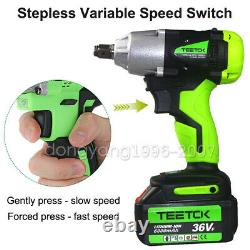 Cordless Electric Impact Wrench Rattle Nut Gun 420Nm Li-ion Battery 1/2'' & 1/4