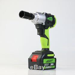 Cordless Impact Wrench 1/2 Drive Ratchet Rattle Nut Gun Garage Tool 2 Batteries