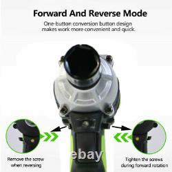 Cordless Impact Wrench 1/2 Driver Ratchet Gun 2XLi-ion Battery LED 4 x Sockets