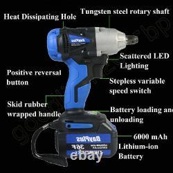 Cordless Impact Wrench 1/2 Impact Driver Ratchet Rattle Nut Gun 18V 6.0A Li-ion