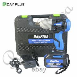 Cordless Impact Wrench & 2 Batteries Driver 460Nm Electric Rattle Nut Gun 1/2