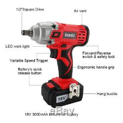 Cordless Impact Wrench 3.0A Li-ion 1/2 Impact Drive Ratchet Rattle Nut Gun 18V