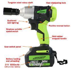 Cordless Impact Wrench 6.0A 2 X Li-ion 1/2 Impact Drive Car Wheel Remove Gun