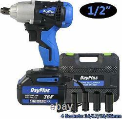 Cordless Impact Wrench 6.0A Li-ion 1/2Drive Ratchet Rattle Nut Gun 21V/ Battery