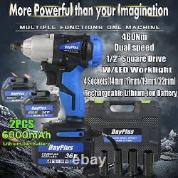 Cordless Impact Wrench Two 6.0A Li-ion 1/2 Impact Drive Ratchet Rattle Nut Gun