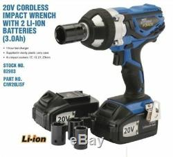 Draper 20v Li-Ion Cordless 1/2 Drive Impact Wrench 3.0A 2 Batteries + Sockets