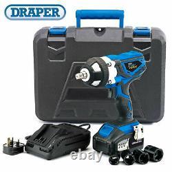 Draper 82983 20V 1/2 Drive Cordless Impact Wrench Gun with 2 Li-ion Batteries