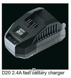 Draper D20 20V Brushless Nut Gun 1/2 Dr Mid Torque Impact Wrench 400 NM 2x 4amp