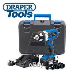 Draper Storm Force Cordless Impact Wrench 2x 20volt Li-ion 82983 & Sockets