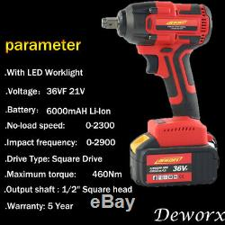 Electric Impact Power Brushless Wrench Ratchet Driver Gun Fast Charger 1XBattery