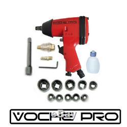 Ex-demo Voche Pro 17pc Red 1/2 Air Impact Wrench Gun Garage Tool Kit & Sockets