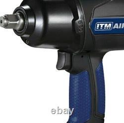 ITM 1/2 Air Impact Wrench, Pneumatic Air Tool Rattle Gun, 850Nm TM340-136
