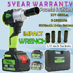 Impact Wrench 1/2 Ratchet Rattle Nut Gun 2 X Batteries Li-Ion LED Worklight 21V