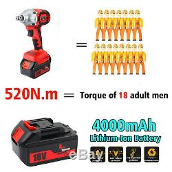 Impact Wrench 520Nm Electric Cordless 1/2 Gun Driver Lithium-Ion Nut 2 Battery