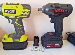KRESS German brand 20v Cordless Impact Wrench / Driver Nut Gun 1/2 2x4ah bats