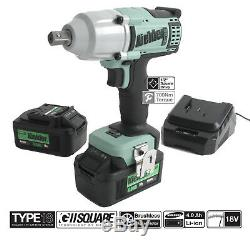 Kielder 18v 1/2 Inch Cordless Impact Wrench Gun 700NM Torque 2x Lithium Battery