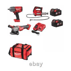 Milwaukee 18v 3 Piece Kit m18gg Grease Gun, Angle Grinder, 1/2 Impact Wrench