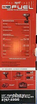 Milwaukee 2767-22GG M18 FUEL 1/2 in Impact Wrench Gun Brand New COMBO Battery