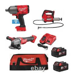 Milwaukee 3 Piece Kit 3/4 Impact Wrench, Grease Gun & Angle Grinder 2 Batteries