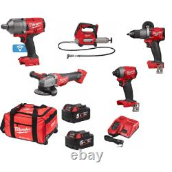 Milwaukee 5 Piece 18v Kit 3/4 Wrench Grinder Grease Gun Drill Impact Driver