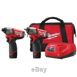 Milwaukee M12 FUEL 12 Volt 3/8 Impact Gun Wrench with Hex Bit Driver Combo Kit