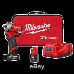 NEW Milwaukee 2555-22 M12 FUEL 1/2 Drive Stubby Impact Gun Wrench Kit 1/2 Inch