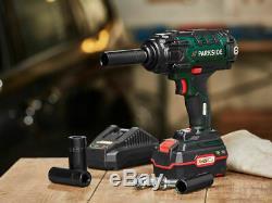 Parkside 20V 4Ah Cordless 1/2 400Nm Impact Wrench Gun Socket set WORLDWIDE POST