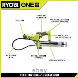 RYOBI Grease Gun Impact Wrench Inflator Ratchet 4-Tool Combo Kit Cordless 18-V