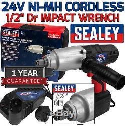 SEALEY 24v Ni-MH Cordless Impact Wrench Gun 1/2 Drive With 2Ah Lithium Battery